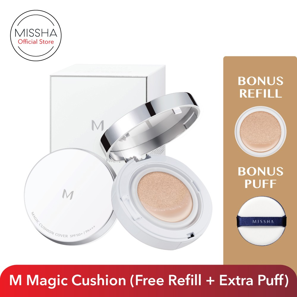 M Magic Cushion Set Spf50 Pa Free Refill Extra Puff